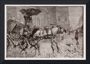Horse and carriage with coachman