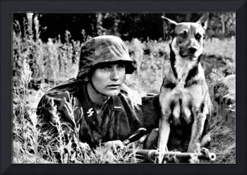 1943 German Sniper and Dog PHOTO Wehrmacht Waffen