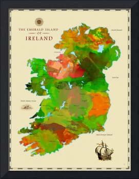 Watercolor Map of Ireland