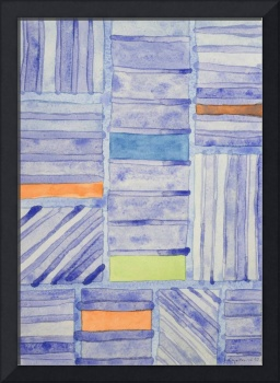 Blue Panel with Colorful Rectangles