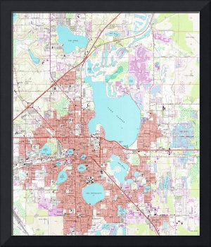 Lakeland Florida Map (1975)
