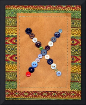 Letter X with Vintage Buttons and Brown Paper Bag