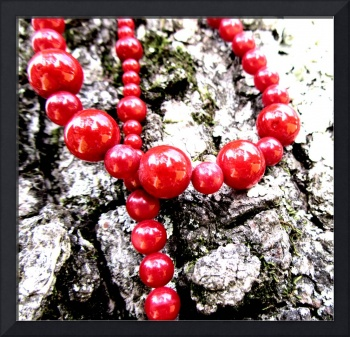 red beads on a tree