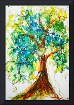 Gold Heart Tree watercolor