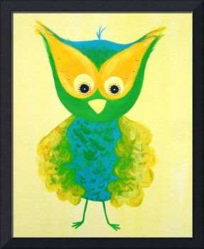 Green and Yellow Owl Painting