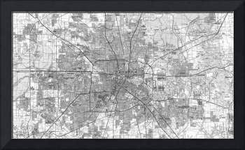 Houston Texas Map (1992) BW