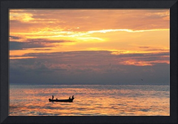 Fishing Skiff on the Caribbean Sea at Dawn