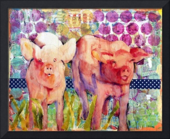 pig art | mixed media collage art | Little Piggies