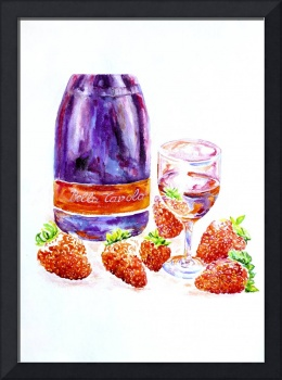 Wine and strawberries