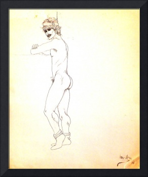 Nude male figure with headband and feather