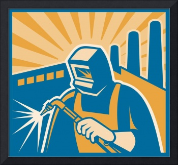 Welder Welding Factory Retro Woodcut