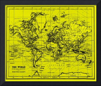 World Map (1899) Yellow & Black
