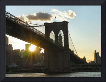 Close up of the Brooklyn Bridge at Sunset
