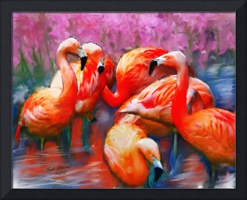 Flaming Flamingos, Digital Art