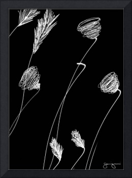 Simple Flowers#1-White on Black