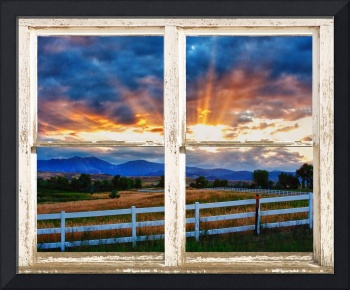 Rocky Mountain Beams Of Sunlight Rustic Window
