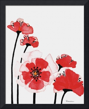 Original Expressive Wild Red and Pink Poppies w3e