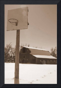 Basketball hoop barn sepia