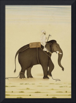 Mahout Riding an Elephant Painting (18th Century)