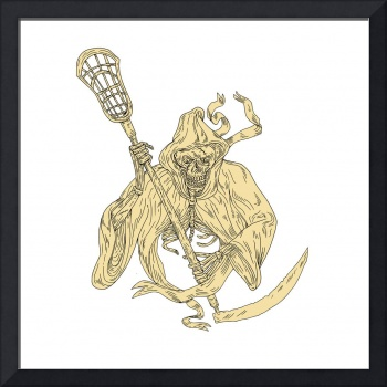 Grim Reaper Lacrosse Stick Drawing