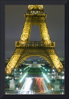 Traffic On Champs D'Elysees Under Eiffel Tower At