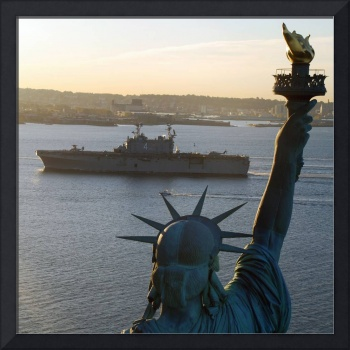 Statue of Liberty and US Naval Warship Photograph