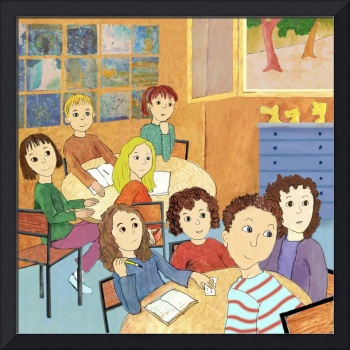 School-Children in Class , listening and Learning