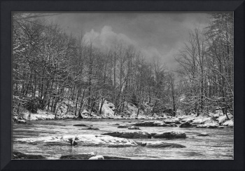 Panther Creek in Snow#4-B&W