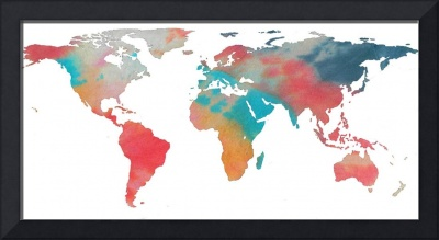 World Map Silhouette - Tie Dye Colors