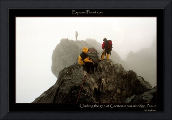 Climbing the gap at Carstensz Pyramid summit ridge