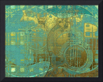 Guitar Abstract Blue Green Gold Brown