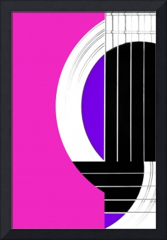 Geometric Guitar Abstract in Pink Purple Black Whi