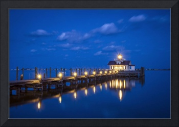 Roanoke Marshes Lighthouse Manteo NC - Blue Hour R