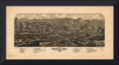 Bird's Eye View of Golden, Colorado (1882)