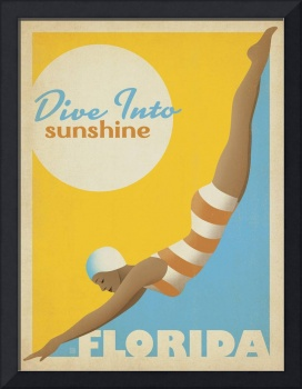 Florida: Dive Into Sunshine Retro Travel Poster
