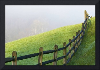 Morning Mist and Fence Line in Hocking Hills Ohio