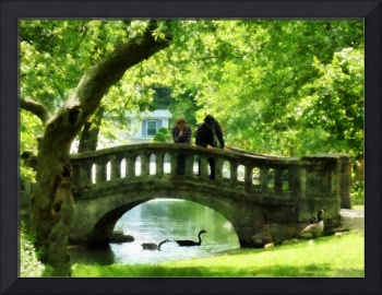 Couple on Bridge in Park
