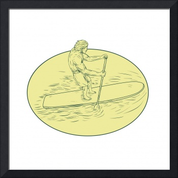 Surfer Dude Stand Up Paddle Oval Drawing