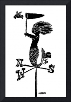 Weathervane Mermaid (B&W)