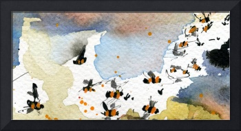 Abstract Nature Bees in Earth Tones Watercolor by