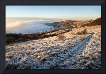 Cleeve Common above a sea of fog