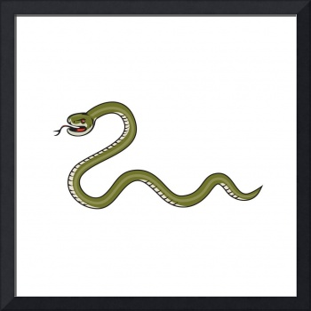 Serpent Coiling Side Isolated Cartoon