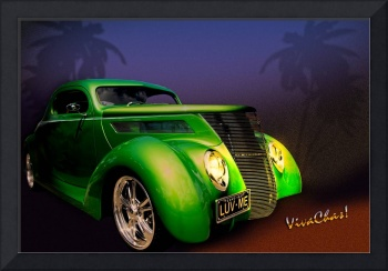 Green 37 Ford Hot Rod on a Sultry Night