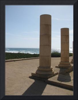 Roman columns from ancient city Caesarea in Israel