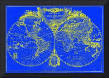 World Map (1775) Blue & Yellow