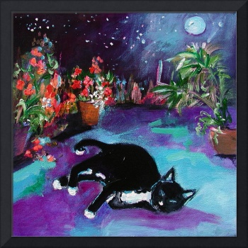 Dreaming Under The Moon  Painting by GInette