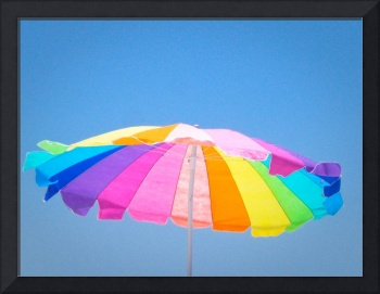 Multicolored Beach Umbrella and Blue Sky