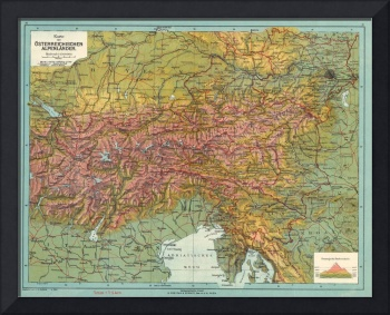 Vintage Map of The Austrian Alps (1916)