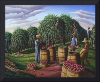 Farmer Picking Apple Autumn Harvest Amish Folk Art