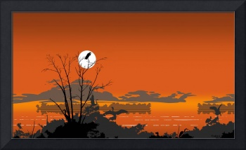 Abstract Tropical Bird Sunset Orange Retro Pop Art